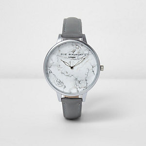 Grey Elie Beaumont marble leather strap watch