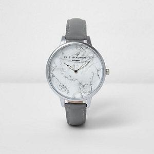 Elie Beaumont - Horloge met marmerprint en grijs leren bandje