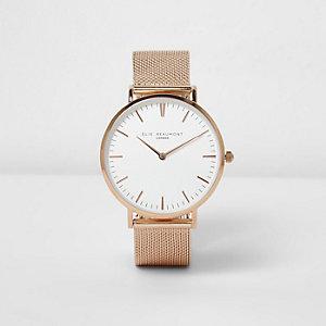 Elie Beaumont - Roségoudkleurig horloge met mesh bandje