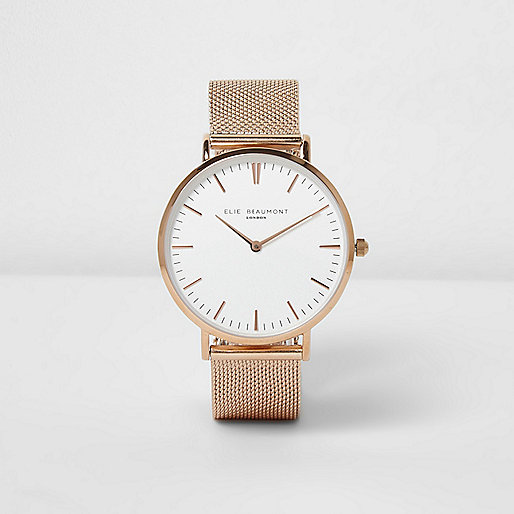 Rose gold tone Elie Beaumont mesh strap watch