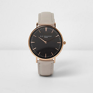 Grey Elie Beaumont leather strap watch