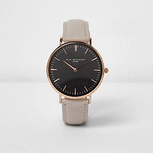 Elie Beaumont - Horloge met grijs leren bandje