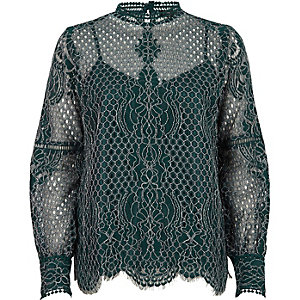 Dark green lace high neck long sleeve top