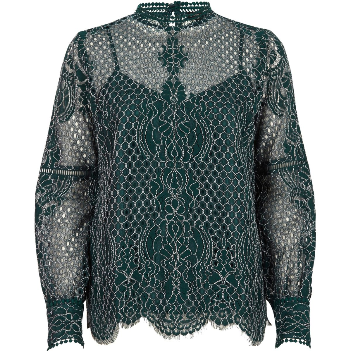 Dark green lace high neck long sleeve top - Blouses - Tops ...