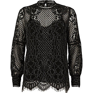 Black lace high neck long sleeve top