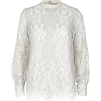 White high neck lace long sleeve top