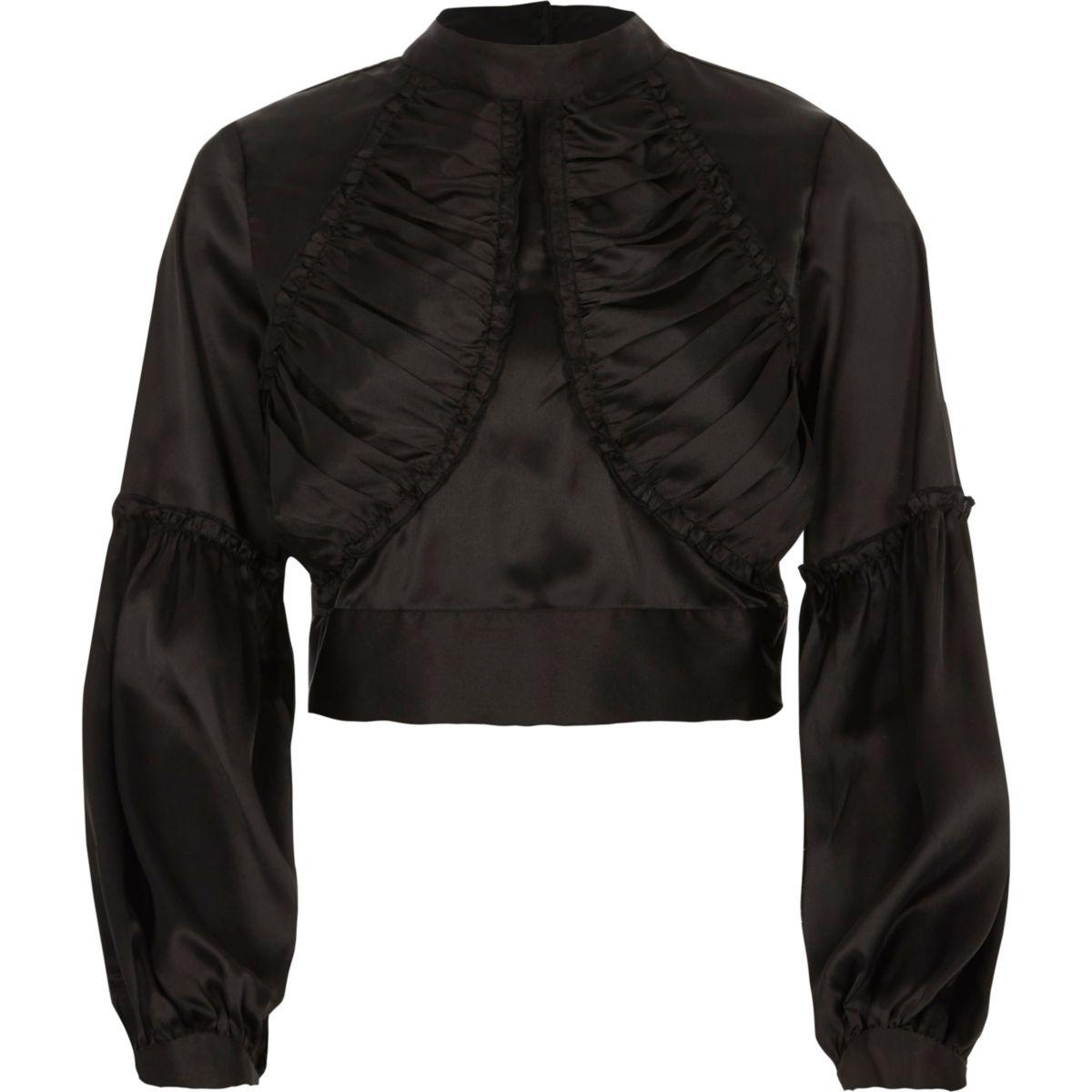 Black satin ruffle front high neck crop top