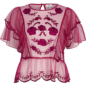 Dark pink dobby mesh embroidered frill top