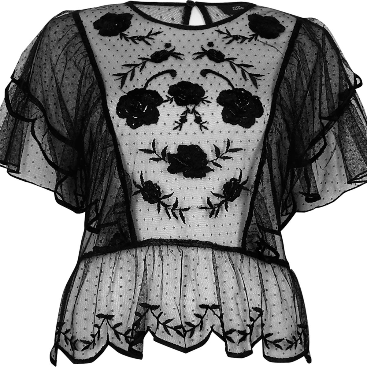 Black dobby mesh embroidered frill top