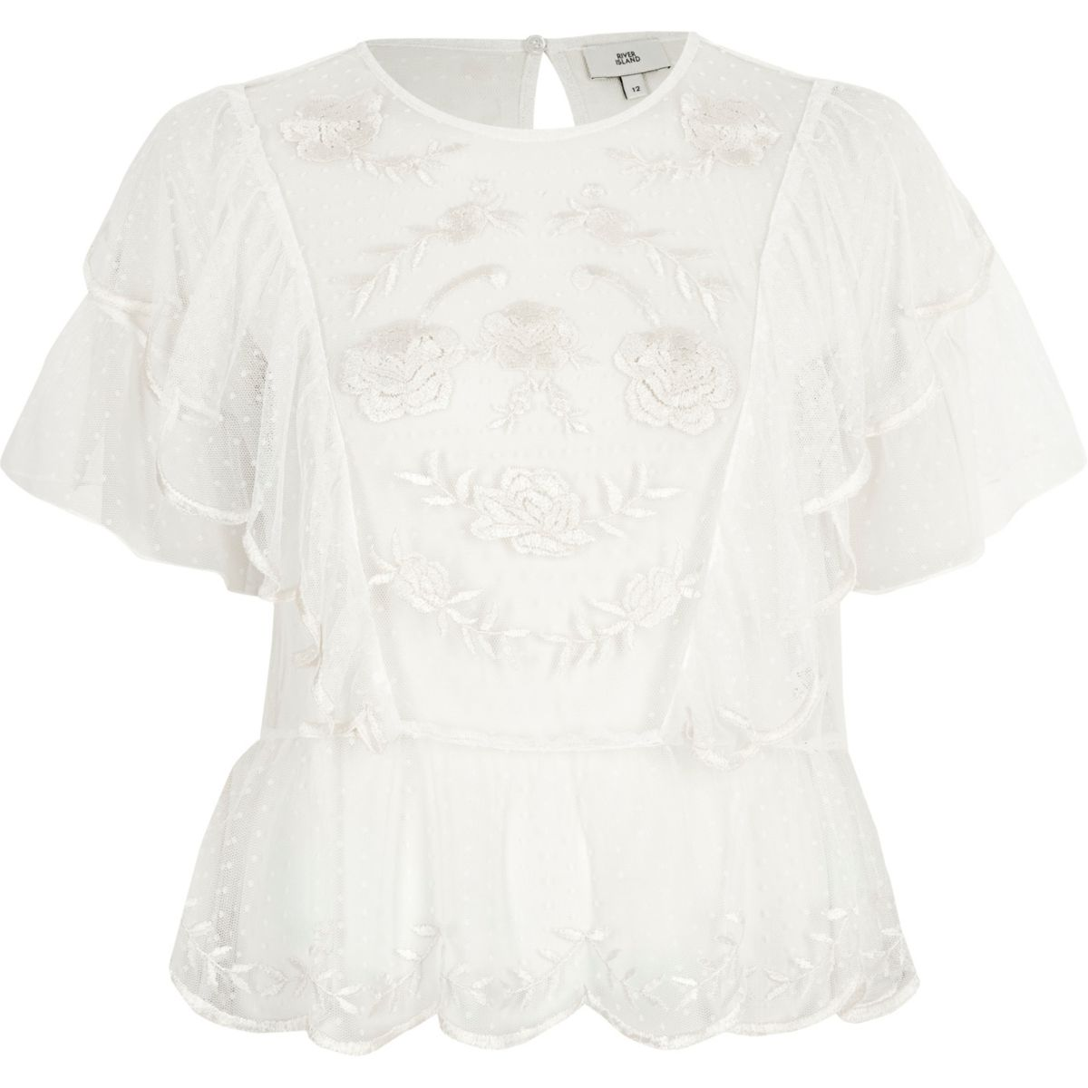 White dobby mesh embroidered frill top
