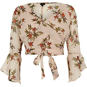 Cream floral print wrap frill sleeve crop top