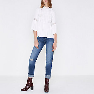 White embroidered high neck smock top