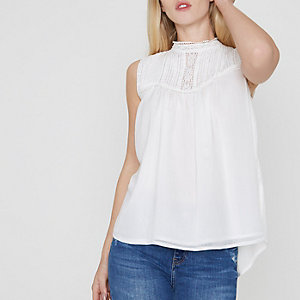 White pleated lace yoke high neck tank top