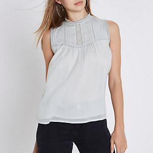 Light blue pleated yoke high neck tank top