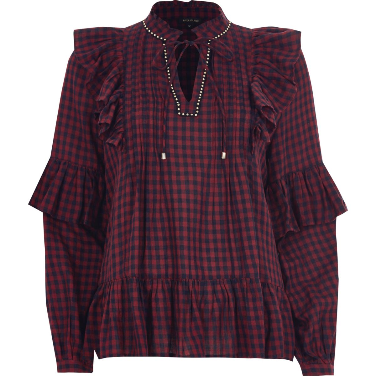 Burgundy check frill front tie neck top