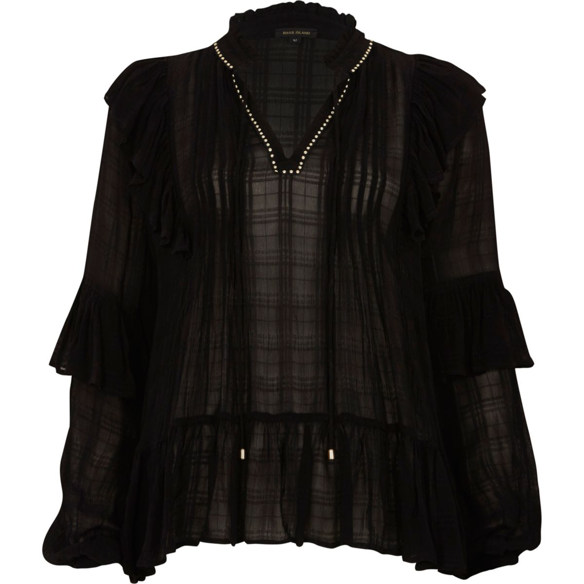 Black check sheer tie neck frill smock top