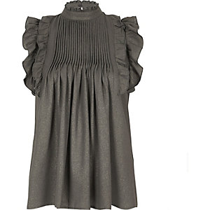 Grey metallic frill high neck top