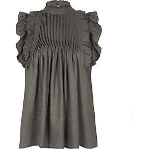 Grey metallic frill high neck top