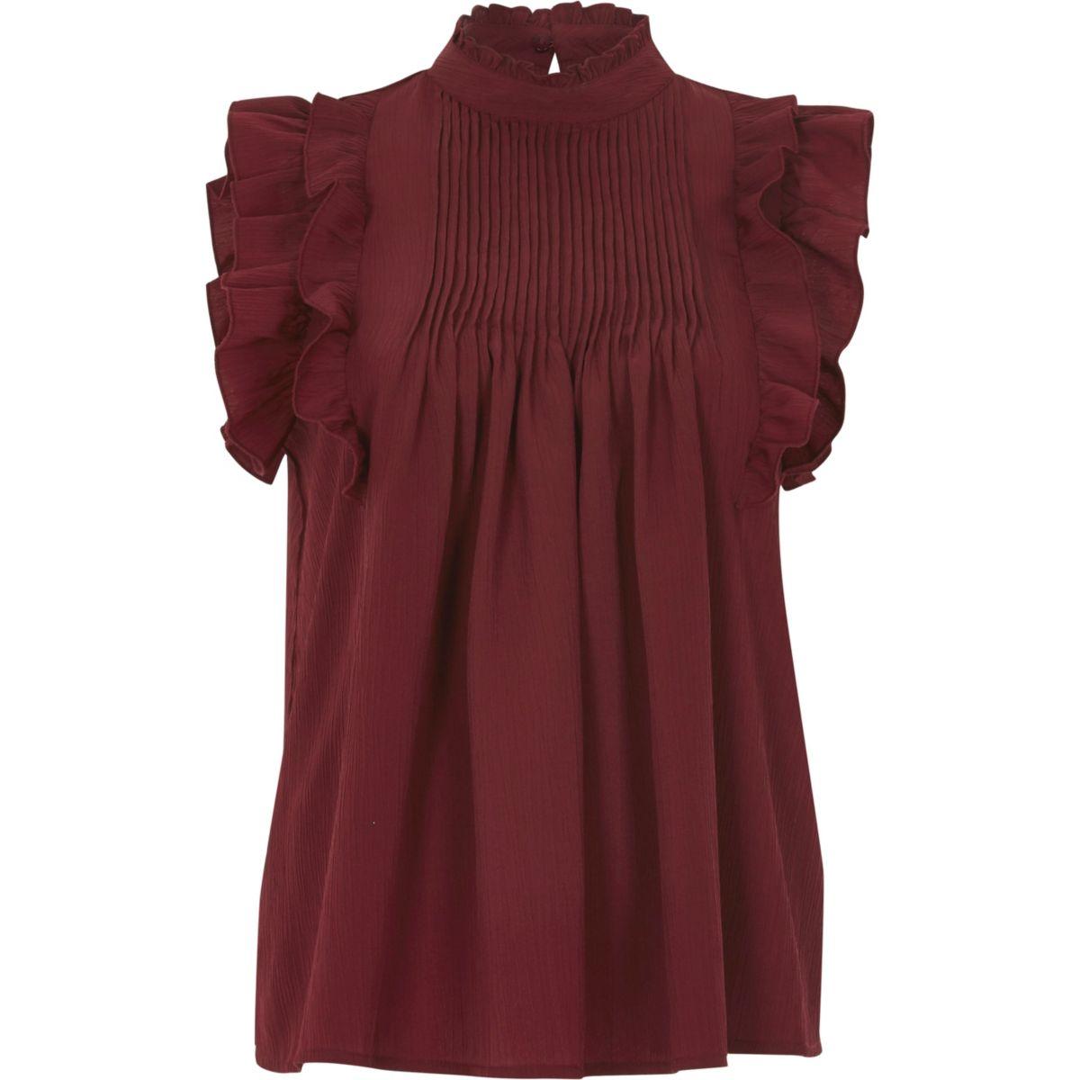 Dark red frill high neck sleeveless top