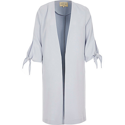 Light blue tie cuff duster jacket