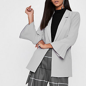 Light grey frill cuff blazer