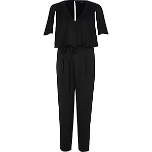 Black cape sleeve tie waist jumpsuit