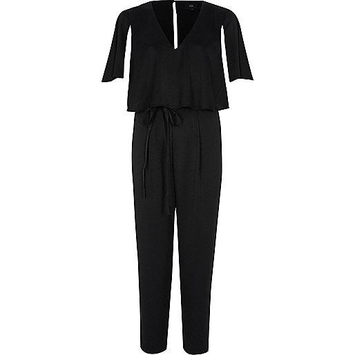 Black cape sleeve tie waist jumpsuit