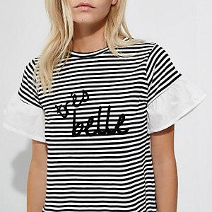 Petite - Zwart gestreept T-shirt met 'Tres belle'-print