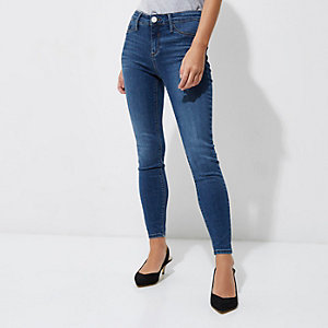 RI Petite - Molly - Middenblauwe wash skinny jegging