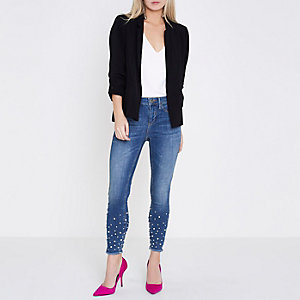 Molly - Middenblauwe skinny jegging met pareltjes langs de zoom
