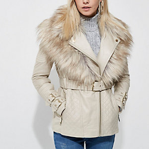 Petite cream faux fur collar biker jacket
