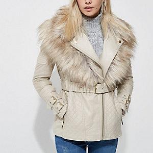 Petite cream faux fur collar biker jacket