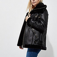 Petite black faux leather aviator jacket