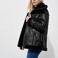 Petite black faux leather aviator jacket