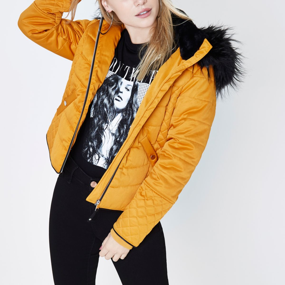 Petite mustard yellow padded faux fur coat