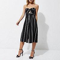 Petite – Combinaison jupe-culotte rayée noire haut bandeau