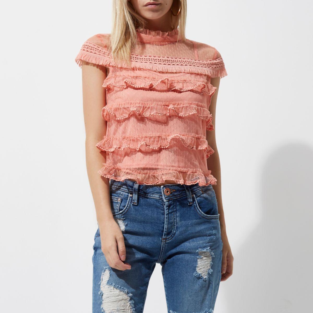 Petite light pink mesh frill cap sleeve top