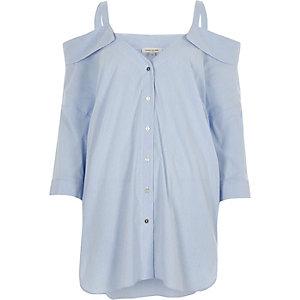 Blue stripe cold shoulder shirt