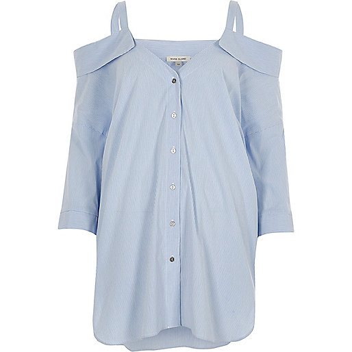 Blue stripe cold shoulder shirt