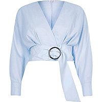 Blue ring belt long sleeve crop top