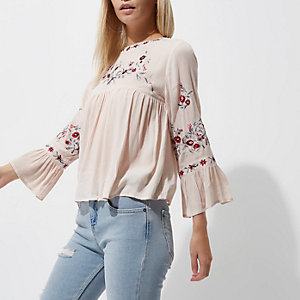 Petite cream embroidered smock top