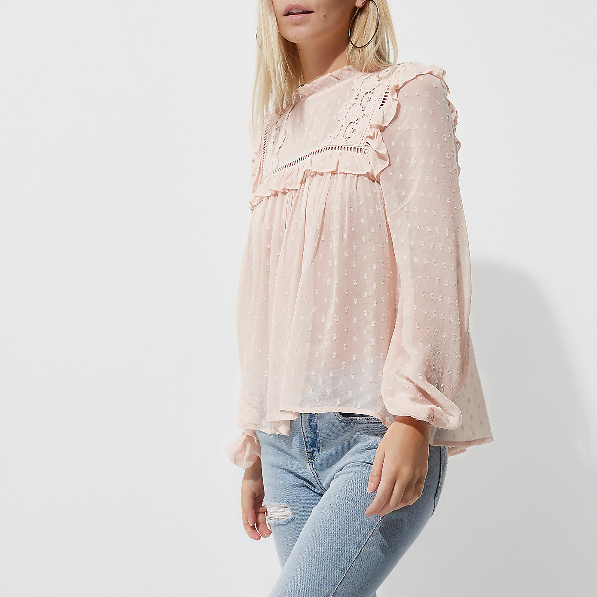 Petite light pink dobby mesh embroidered top