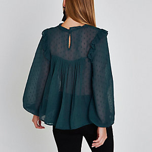 Petite green bib front puff sleeve top