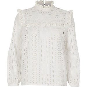 White broderie high neck long sleeve top