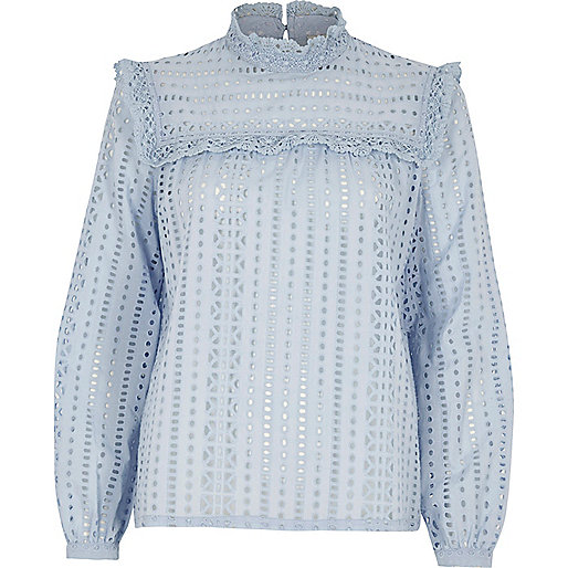 Light blue broderie high neck long sleeve top