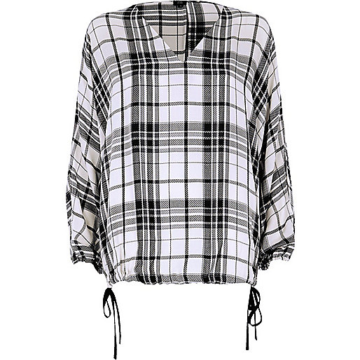 White check print split  sleeve top