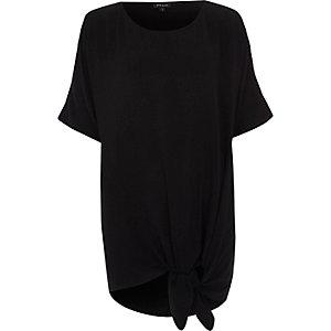 Zwart oversized T-shirt met knoop voor