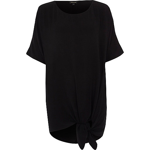 Black knot front oversized T-shirt
