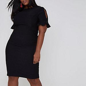 Plus black frill split sleeve midi dress