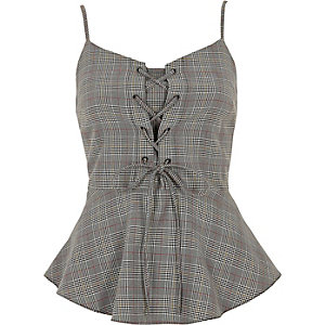 Grey check lace-up frill hem cami top